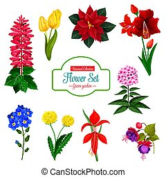 Flower icon of spring garden flowering plant