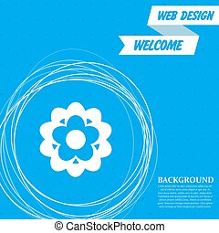 flower icon on a blue background with abstract circles around and place for your text. Vector
