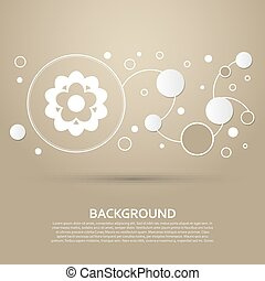 flower icon on a brown background with elegant style and modern design infographic. Vector
