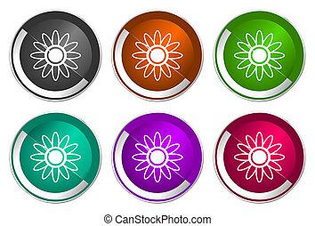 Flower icon set, silver metallic web buttons