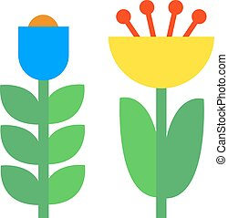 Flower icons colorful plants nature flat .