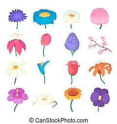 Flower icons set, cartoon style