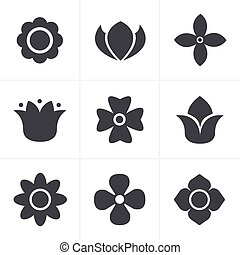 Flower Icons Set, Vector Design