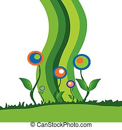 flower illustration with green grass and color line in...