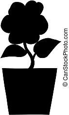 Flower in a pot silhouette.