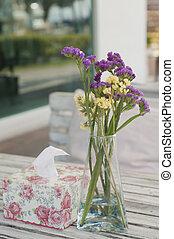 Flower in glass vase.