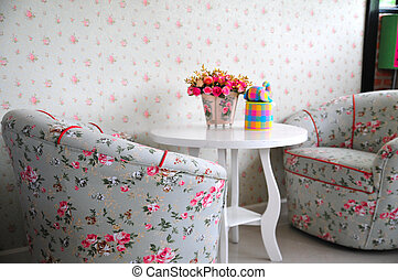 flower in living room interior with 2 chair