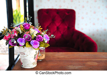 flower in living room interior with red chair