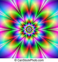 Flower in Neon - Digital abstract image with a neon flower ...