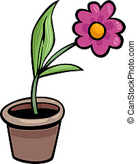 flower in pot clip art cartoon illustration - Cartoon...