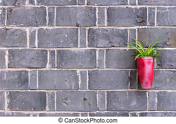 flower in pot on brick wall background