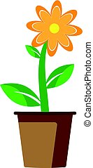Spring beautiful flower in a pot. Vector on white background