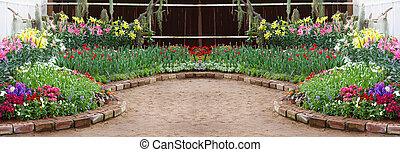 flower in the garden; panorama