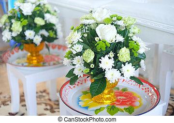 Flower in vase decoration in Thai wedding