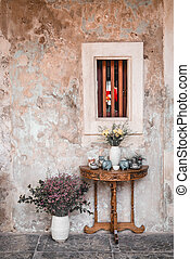 flower in vase decoration with old wall
