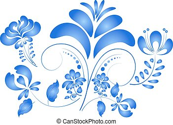 Flower isolated on a white background in Gzhel style. Vector ill