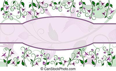 Flower label design - Purple flowers design with lavender...