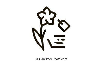 flower label price Icon Animation. black flower label price animated icon on white background