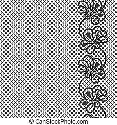Flower lace border on white background
