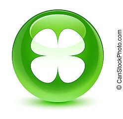 Flower leaf icon glassy green round button