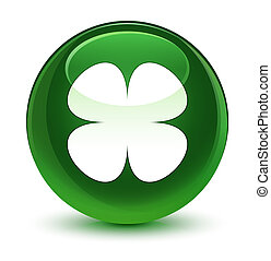Flower leaf icon glassy soft green round button
