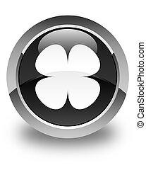 Flower leaf icon glossy black round button