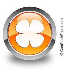 Flower leaf icon glossy orange round button
