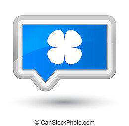 Flower leaf icon prime cyan blue banner button