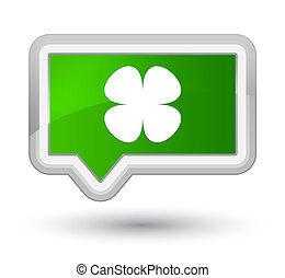 Flower leaf icon prime green banner button