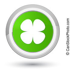 Flower leaf icon prime soft green round button