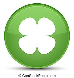 Flower leaf icon special soft green round button