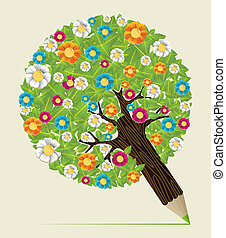 Flower leaves concept pencil tree