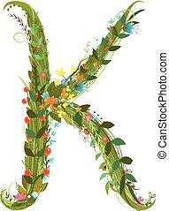 Flower letter K calligraphy floral elegant decorative...