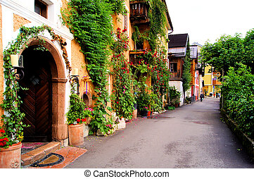 Flower lined street in the traditional Austrian village of...