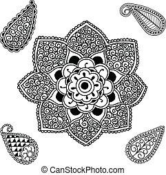 Flower Mandala and Paisley - Hand drawn Henna and Paisley...