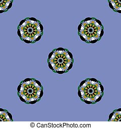 Flower mandala. Seamless pattern. Blue background