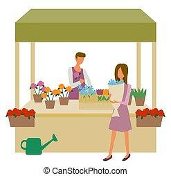 Flower Market, Woman Choosing Bouquet, Seller