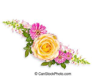 Flower montage arrangement with copy space