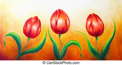 Flower Motive Three Dancing Red Tulip Flowers Beautiful Bright
