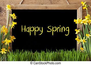 Flower Narcissus, Chalkboard, Text Happy Spring - Blackboard...