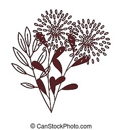 flower nature foliage leaf isolated icon design line style