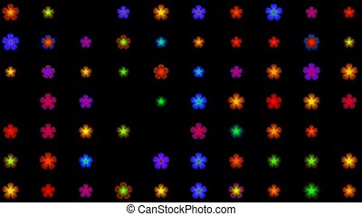 flower neon light, seamless loop,1080p
