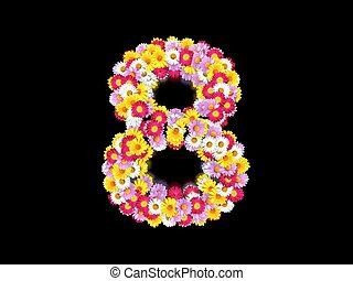 Flower Number Eight. Floral Element of Colorful Letters made from Marguerites