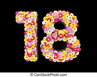 Flower Number Eighteen. Floral Element of Colorful Letters made from Marguerites