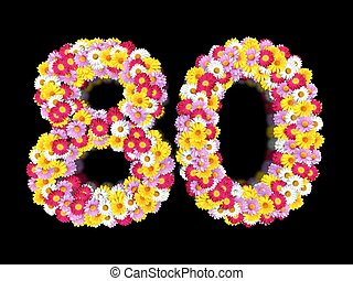 Flower Number Eighty. Floral Element of Colorful Letters made from Marguerites