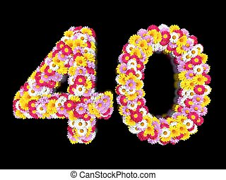 Flower Number Forty. Floral Element of Colorful Letters made from Marguerites