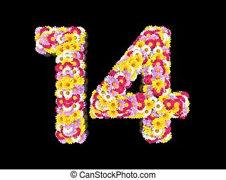Flower Number Fouteen. Floral Element of Colorful Letters made from Marguerites