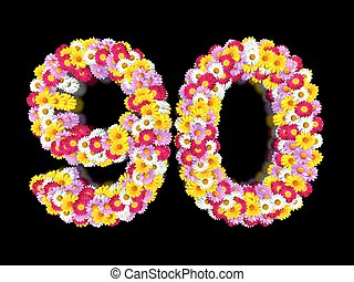 Flower Number Ninety. Floral Element of Colorful Letters made from Marguerites