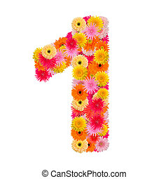 flower number one. Floral element of colorful alphabet made from gerbera