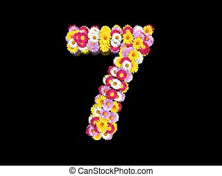 Flower Number Seven. Floral Element of Colorful Letters made from Marguerites